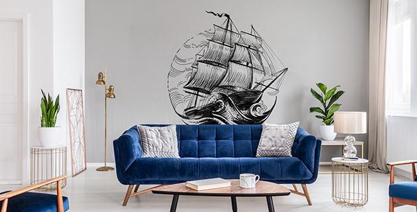 Monochromatická nálepka s lodí