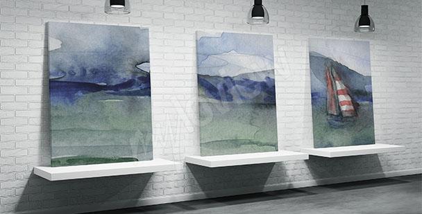 Mořský triptych do koupelny