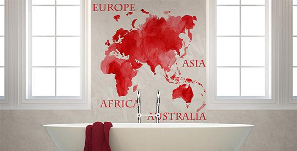 Nálepka červená mapa kontinenty