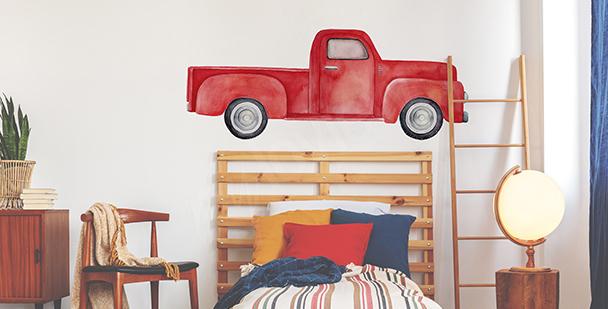 Nálepka červený automobil do ložnice