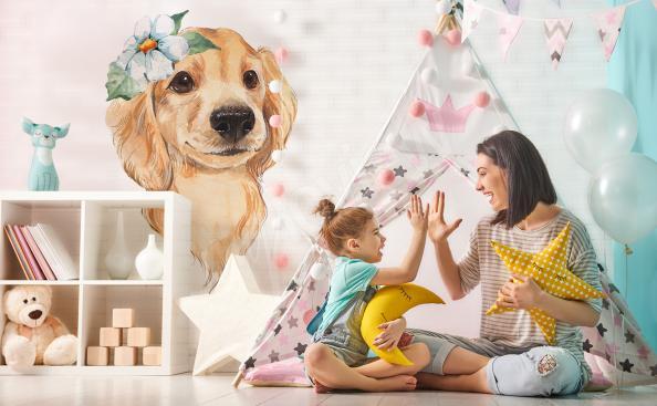 Nálepka do dětského pokoje rozkošný pes