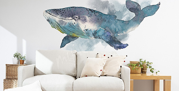 Nálepka do obývacího pokoje s velrybou