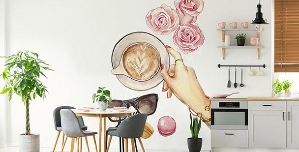 Nálepka káva a růže