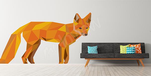 Nálepka liška geometrický projekt