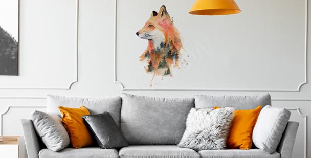 Nálepka liška v akvarelu