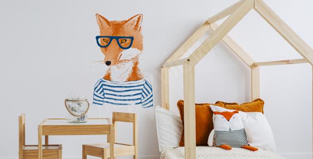 Nálepka liška v brýlích