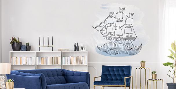 Nálepka loď na moři