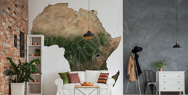 Nálepka mapa Afriky do obývacího pokoje