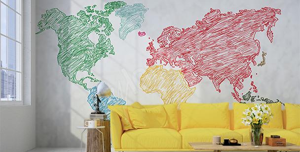 Nálepka mapa kreslená pastelkami