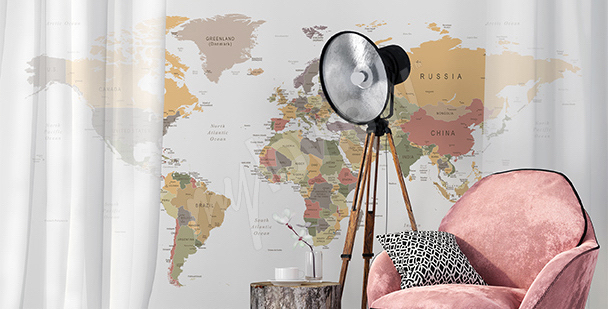 Nálepka mapa retro do obývacího pokoje