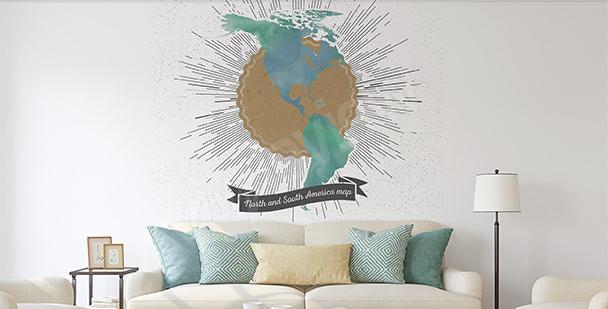 Nálepka mapa retro obou Amerik