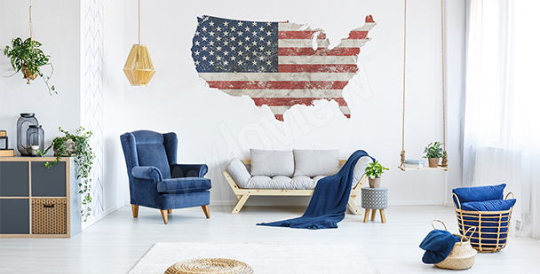 Nálepka mapa retro USA