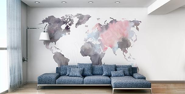 Nálepka mapa světa akvarel