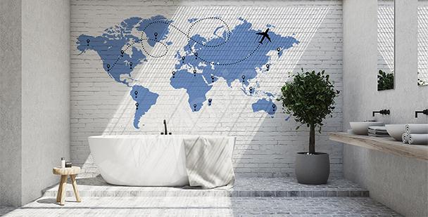 Nálepka mapa světa s letadlem