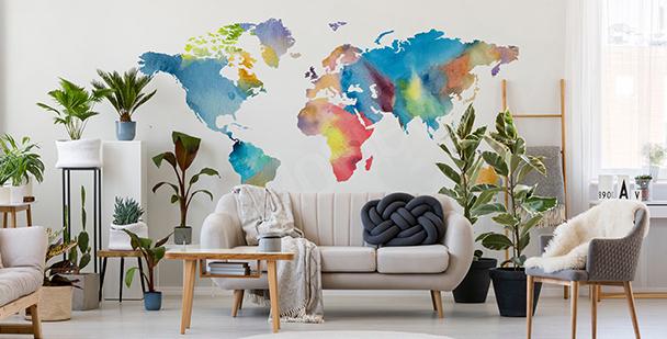 Nálepka mapa světa v akvarelu