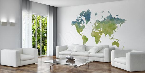 Nálepka mapa světa v eko stylu