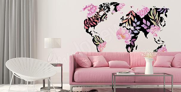 Nálepka mapa světa z květin