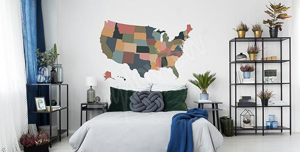 Nálepka mapa USA vintage
