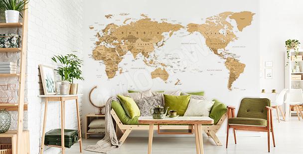 Nálepka mapa vintage do obývacího pokoje