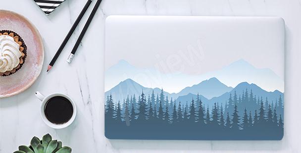 Nálepka na notebook hory v mlze