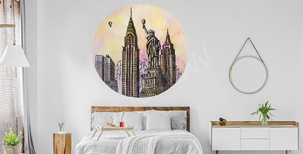 Nálepka New York v akvarelu