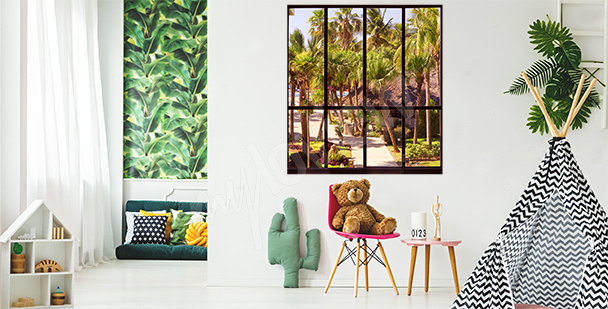 Nálepka okno s tropickým výhledem