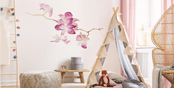 Nálepka orchidej v akvarelu