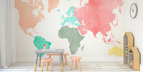 Nálepka pastelové kontinenty