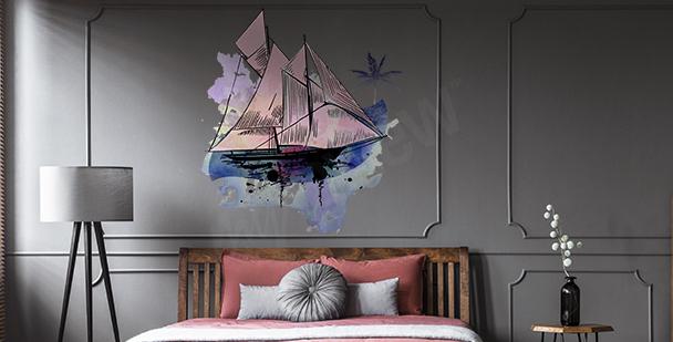 Nálepka plachetnice akvarel
