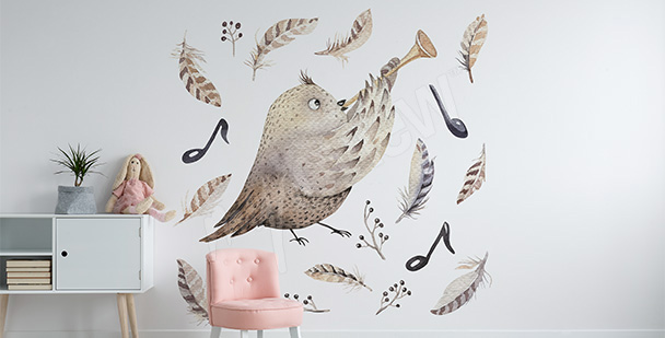 Nálepka pro holčičky pták-muzikant