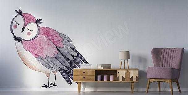 Nálepka růžová sova