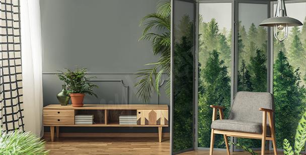 Nálepka s akvarelovým lesem