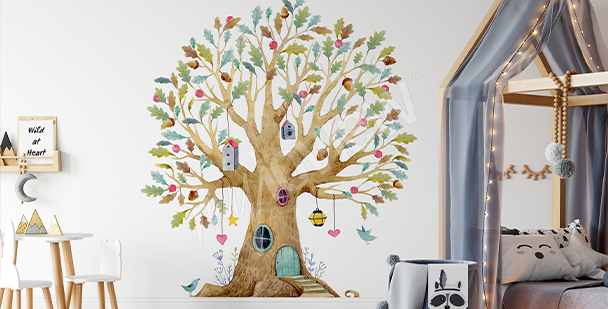 Nálepka s barevným stromkem