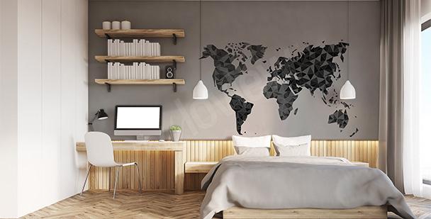 Nálepka s geometrickou mapou světa