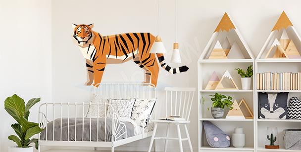Nálepka s geometrickým tygrem