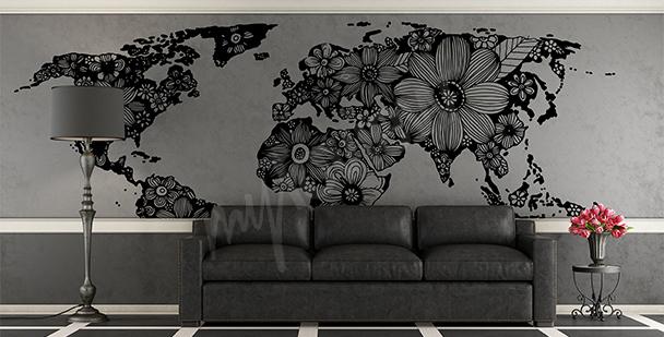 Nálepka s květinovou mapou