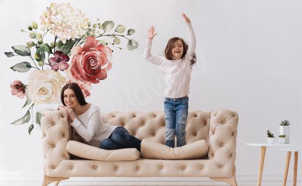 Nálepka s růžemi a hortenzií