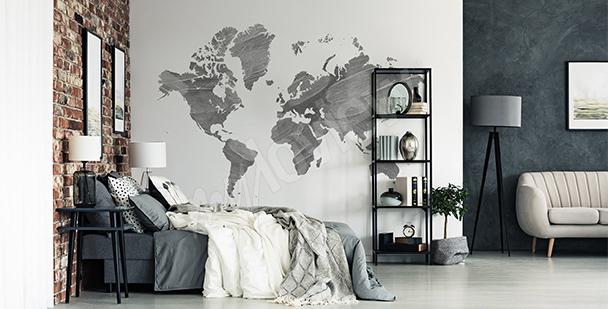 Nálepka šedá mapa světa