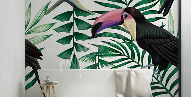 Nálepka tukan v listí