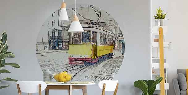 Nálepka žlutá tramvaj do jídelny