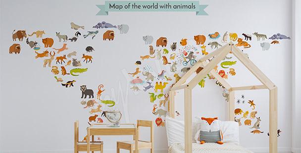 Nálepka zvířecí mapa světa
