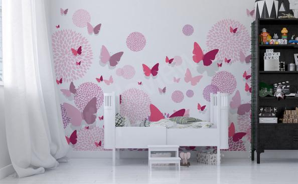 Nálepky růžoví motýli