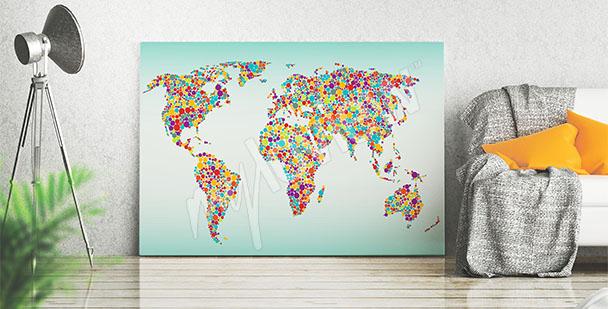 Obraz barevná mapa světa