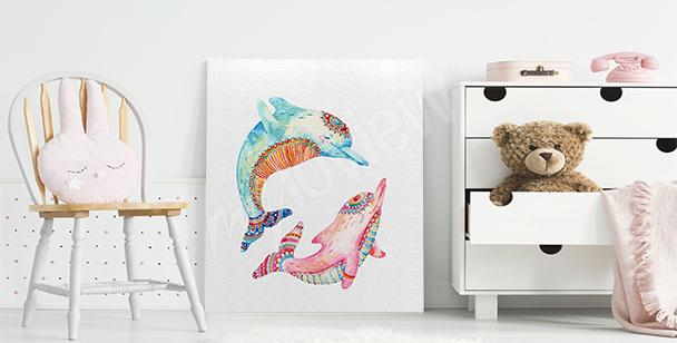 Obraz barevní delfíni