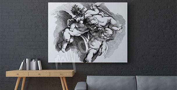 Obraz barokní s cherubíny