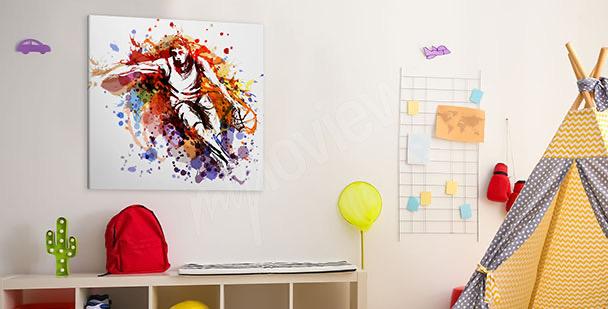 Obraz basketbalista v akvarelu