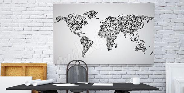Obraz černobílá mapa světa