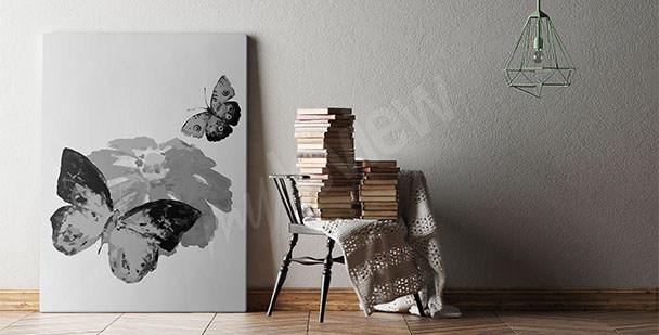 Obraz černobílí motýli
