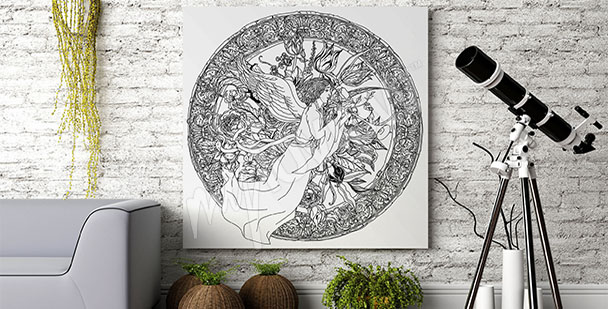 Obraz černobílý baroko