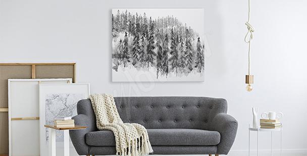Obraz černobílý les